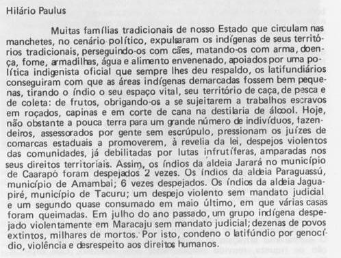 Hilario Paulus - denúncia