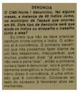 Leia a íntegra da entrevista - Jornal Porantim nº 9, julho de 1979